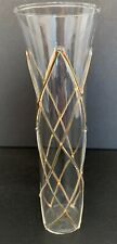 "Abigail Glass Vial Bud Vase Clear with Goldtone Lattice 7""h x 2""d"