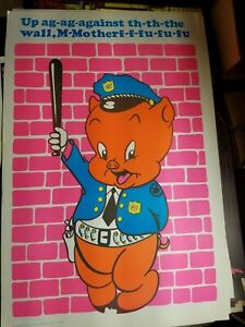 UP AGAINST THE WALL PORKY PIG 1972 VINTAGE BLACKLIGHT NOS POSTER By CANTERBURY