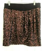 Michael Kors black brown faux wrap sequined evening pull on skirt 10