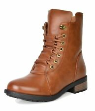 DREAM PAIRS Women's Panther Camel Mid Calf Military Combat Boots Size 6 M US