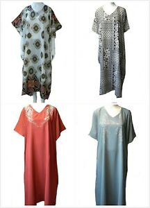 PACK of 4, Ladies' printed polyester Long Kaftan/beach/holiday dresses fit 10-32