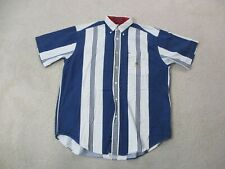 VINTAGE Tommy Hilfiger Button Up Shirt Adult Medium White Blue Striped Men 90s*