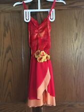 Red and Orange Tango Figure Skating Dress with flowers (size child large)