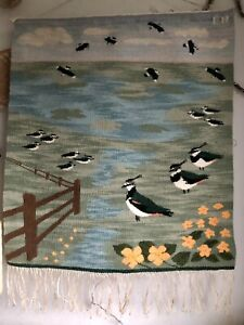 handcrafted vintage Wool tapestry Landscape Flowers  Birds Lapwings wall art