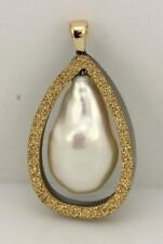 Freshwater Baroque Cultured Pearl Druzy Pendant 14k Yellow Gold 1.75x1x0.5 inch