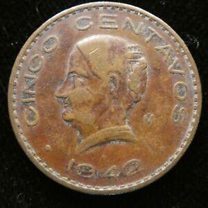 1942 Mexico 5 Centavo  KM 424 Key Date