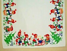 "VINTAGE SWEDISH CHRISTMAS TOMTE DESIGN 23.5""X 21"" COTTON TABLECLOTH SWEDEN"