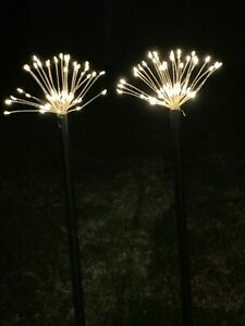2 PIECES 120 LED WARM WHITE SOLAR FIREWORK GARDEN LIGHTS WITH 8 FUNCTIONS