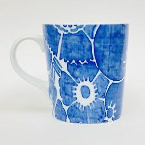 "NEW Crate & Barrel DAPHNE BLUE Floral Denim Style Coffee Mug 4.25"""