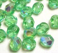 30 Preciosa Glasschliffperlen 6mm Feuerpoliert Facettiert Kugel Grün Perlen X280