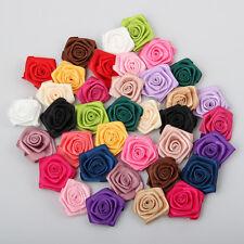 100pcs Small Mini Satin Ribbon Flowers Rose Wedding Decor Sewing Appliques DIY