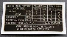 Suzuki GT550, Decal/Sticker - Tyre Pressure Information.   20