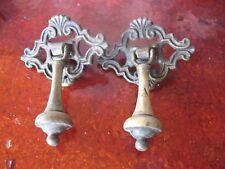 VINTAGE  SOLID  BRASS  DRAWER  PULLS (2)   No. 703  ORIGINAL  2''   X   2.5''