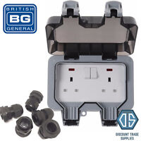 BG Weatherproof IP66 Outdoor 13A Switched Double Socket WP22 + FREE 20mm Glands