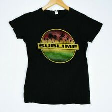 Sublime Sun and Palm Trees Women's Large Black Band Soft T Shirt