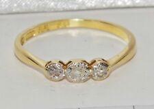 Antiguo 18 ct Oro Amarillo & Platino Diamante Tres Piedras Tamaño Anillo - M