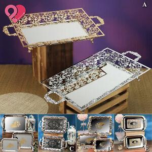 1-6 Bulk Rectangle MIRROR SERVING TRAY Vintage Metal Vanity Food Platter Wedding