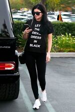 LOVE Black 'Let The Devil Dress In Black' Slogan T-Shirt in Black Top UK 14 42