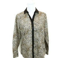 Chicos Womens Sz 0 Blouse Cheetah Leopard Print Long Sleeve Button Front US Sm