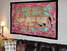 HANDMADE ELEPHANT BOHEMIAN PATCHWORK WALL HANGING EMBROIDERED TAPESTRY INDIA X22