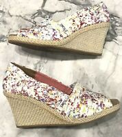 TOMS CANVAS WEDGE ESPADRILLE PEEP TOE HEELS ABSTRACT FLORAL WHITE MULTI SIZE 10