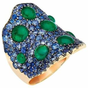 Wide Wave Ring High CZ Gold Plated 925 Sterling Silver Green Cabochon & Sapphire