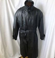 PELLE MODA, Heavy Black Leather Trench Coat. L