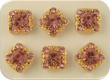 2 Hole Beads Gala Light Rose Pink Swarovski Crystal Elements GOLD ~Sliders QTY 6
