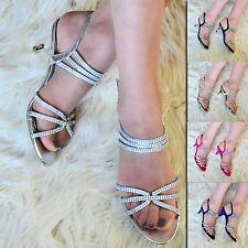 Womens Diamante Low Mid Heel Evening Shoes Ladies slingback Sandal Peep toe Size