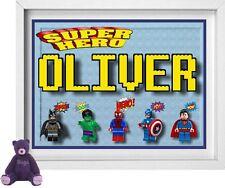 Nome del bambino | personalizzato NURSERY foto | LEGO superheros | GRATIS | (np129)