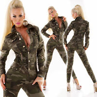 overall tuta donna intera militare maniche lunghe bottoni zip tg xs,s,m,l,xl