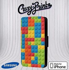 Building Blocks Bricks Block  fits iPhone / Samsung Leather Flip Case Cover E114