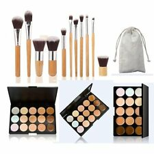15 Colors Contour Face Cream Makeup Concealer Palette 11 Pcs Bamboo Brush Set