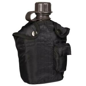 Army Water Bottle & Pouch Set Canteen Camping Hiking Military Outdoor Black