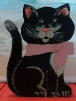 Vintage Folk Art Hand Painted Wooden Black Cat Wall art 13x12x1 look at the pics