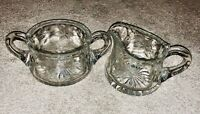 American Brilliant Cut Glass (ABP): Floral/leaves sugar & creamer- ex condition