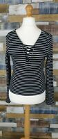New Look Black and White Striped Ladies Long Sleeved Top Size UK 16