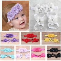 Baby Socks Cute Shoes Toe Blooms Girl Hairband Headband+Flower Barefoot Sandals