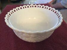 White Milk Glass Filigree Edge Bowl