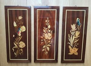 Set Of 3 Floral Italian Marquetry Inlaid Wood Vintage Wall Art Plaques Pictures