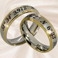Koordinatenringe Hochzeitsringe Trauringe Partnerringe Eheringe mit Gravur