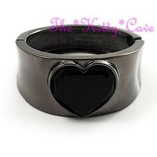Dramatic Black Tone Faceted Glass Love Heart Hinged Concave Bracelet Bangle Cuff