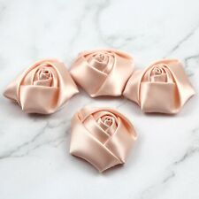 "50X Satin Ribbon Rose Flowers 2""Handmade Rose For Make Wedding DIY Bouquet Craft"