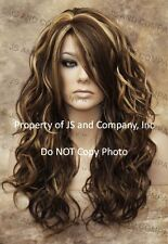 Heat Safe Curly Long Wavy Skin Top Brown Blonde mix Wig wd 8-27-613