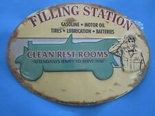 tin metal gasoline service station man cave advertising decor gas oil filling