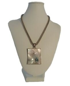 Blue Topaz And Pearl Necklace - Signed Sterling Silver Mother Of Pearl Necklace