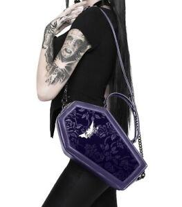 KILLSTAR Vampire's Kiss Coffin Handbag Bag Purse Bat Gothic Plum Purple NWT
