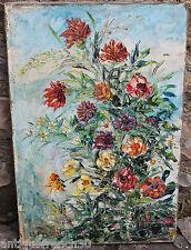 Ancienne huile sur toile, nature morte fleurs, signé Le François. oil on canvas