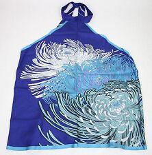 New Gucci Blue Silk Flower Print Scarf Halter Top Blouse 317942 4369