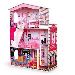 Puppenvilla Puppenhaus Puppenstube Puppenmöbel Spielzeughaus mit Möbeln Holz MDF